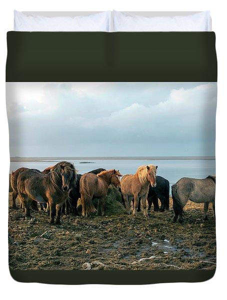 Horses In Iceland Duvet Cover
