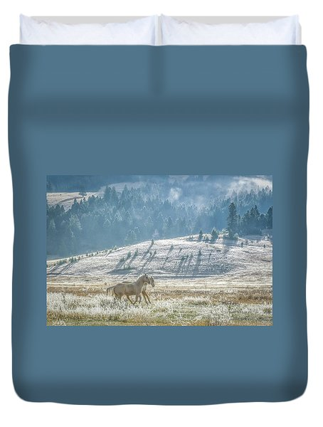 Horses In The Frost Duvet Cover by Keith Boone