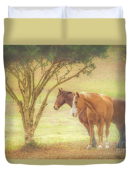 Horses In The Meadow Duvet Cover by Eleanor Abramson