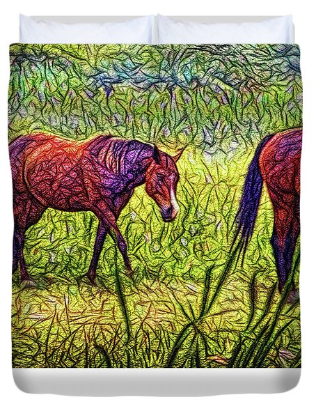 Horses In Tranquil Field Duvet Cover by Joel Bruce Wallach
