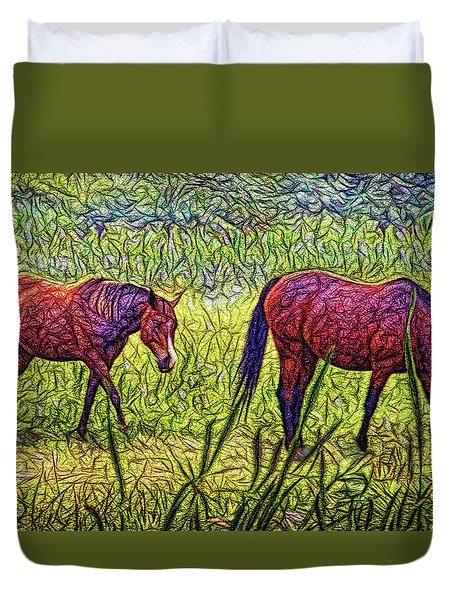 Horses In Tranquil Field Duvet Cover