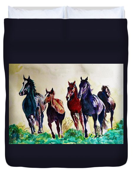 Horses In Wild Duvet Cover