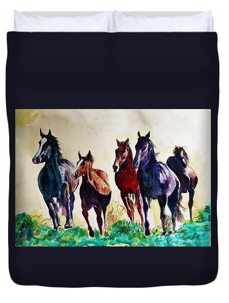 Horses In Wild Duvet Cover