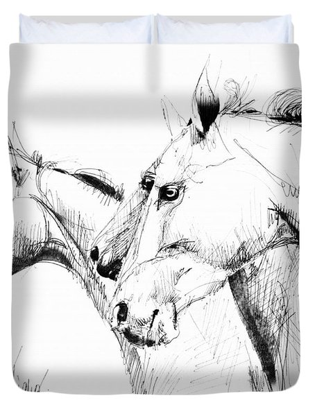 Horses - Ink Drawing Duvet Cover