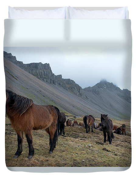 Duvet Cover featuring the photograph Horses Near Vestrahorn Mountain, Iceland by Dubi Roman