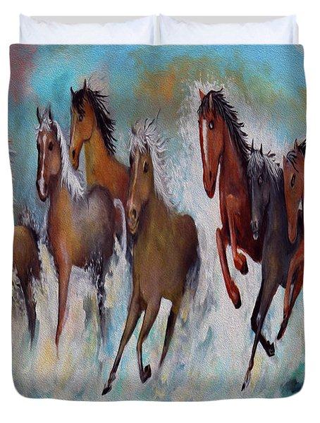 Horses Of Success Duvet Cover