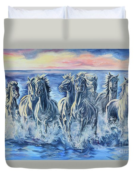 Horses Of The Sea Duvet Cover by Jana Goode