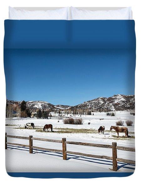 Horses On A Small Farm Near The Aspen Airport Duvet Cover