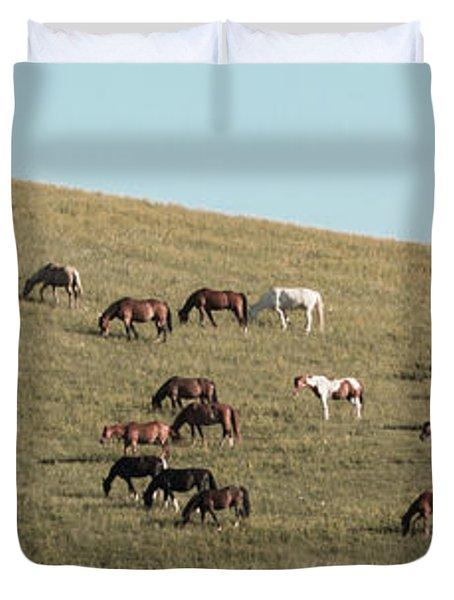 Horses On The Hill Duvet Cover