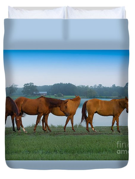 Horses On The Walk Duvet Cover