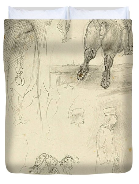Horses Riders And A Young Man Duvet Cover