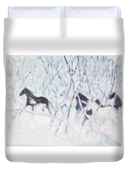 Horses Running In Ice And Snow Duvet Cover