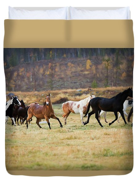 Duvet Cover featuring the photograph Horses by Sharon Jones