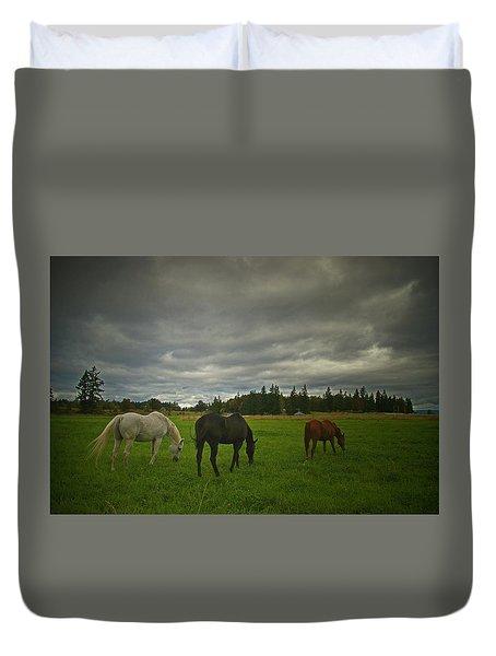 Horses Under Heavy Sky Duvet Cover