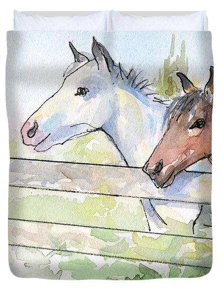 Horses Watercolor Sketch Duvet Cover