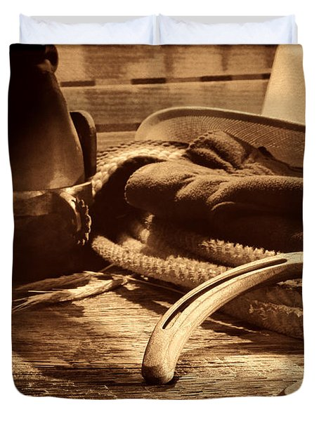 Horseshoe And Cowboy Gear Duvet Cover