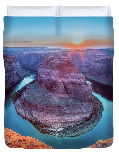 Horseshoe Bend Sunset Duvet Cover by David Cote