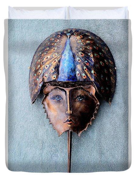 Horseshoe Crab Mask Peacock Helmet Duvet Cover by Roger Swezey