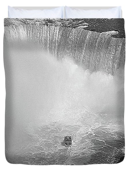 Horseshoe Falls Black And White Duvet Cover by DigiArt Diaries by Vicky B Fuller