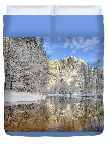 Horsetail Fall Reflections Winter Yosemite National Park Duvet Cover