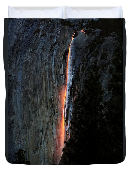 Horsetail Falls Aglow Duvet Cover