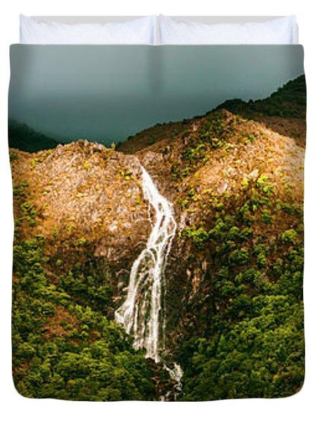 Horsetail Falls In Queenstown Tasmania Duvet Cover
