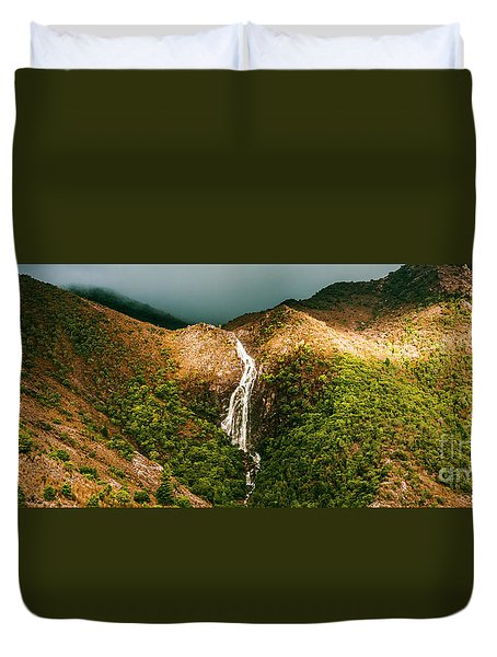 Horsetail Falls In Queenstown Tasmania Duvet Cover