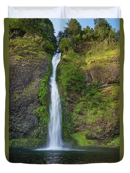 Horsetail Falls In Spring Duvet Cover by Greg Nyquist