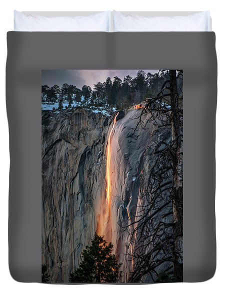 Horsetail Waterfall Glow 2017-2-24 Duvet Cover