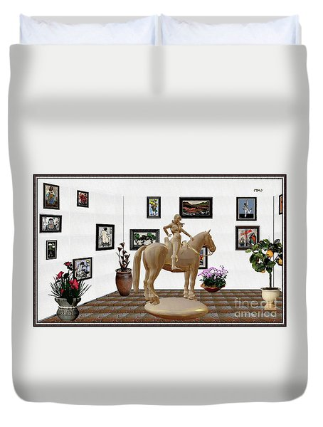 Virtual Exhibition -statue Of Horsewoman 12 Duvet Cover by Pemaro