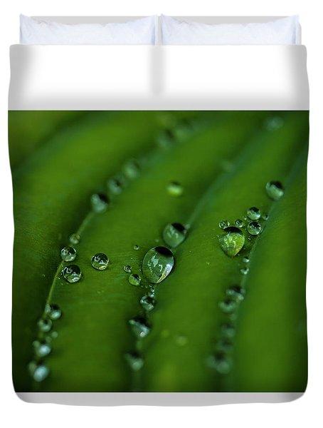 Hostas And Raindrops Duvet Cover