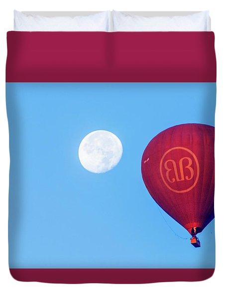 Duvet Cover featuring the photograph Hot Air Balloon And Moon by Pradeep Raja Prints
