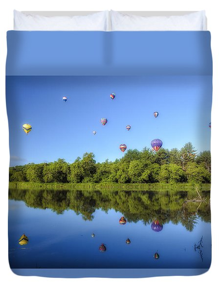 Quechee Balloon Fest Reflections Duvet Cover