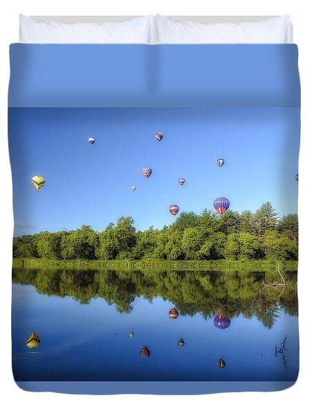 Quechee Balloon Fest Reflections Duvet Cover