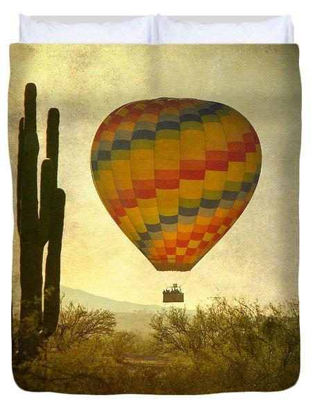 Hot Air Balloon Flight Over The Southwest Desert Duvet Cover by James BO  Insogna