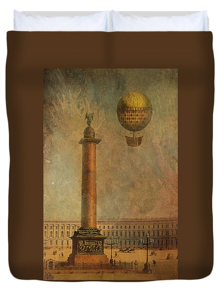 Duvet Cover featuring the digital art Hot Air Balloon Over St Petersburg And The Hermitage by Jeff Burgess