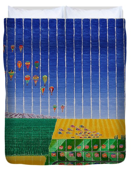 Hot Air Balloon Party Duvet Cover