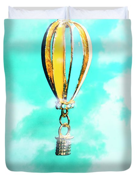 Hot Air Balloon Pendant Over Cloudy Background Duvet Cover