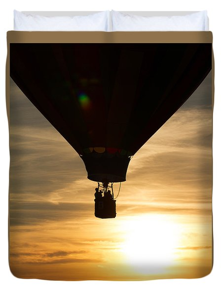 Hot Air Balloon Sunset Silhouette Duvet Cover