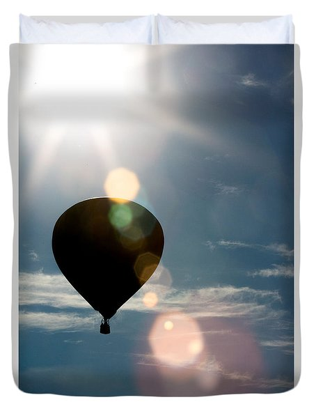 Hot Air Balloon With Lens Flaire Duvet Cover