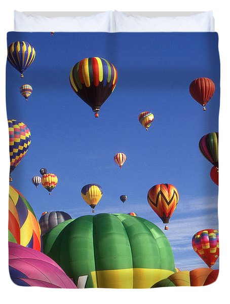 Beautiful Balloons On Blue Sky - Color Photo Duvet Cover