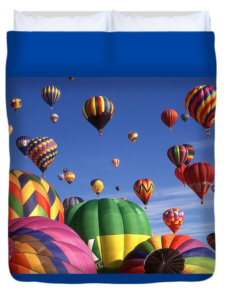 Beautiful Balloons On Blue Sky Duvet Cover