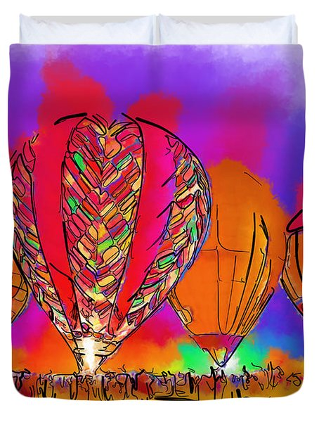 Hot Air Balloons In Subtle Abstract Duvet Cover