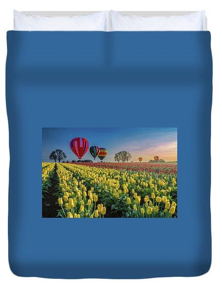 Hot Air Balloons Over Tulip Fields Duvet Cover
