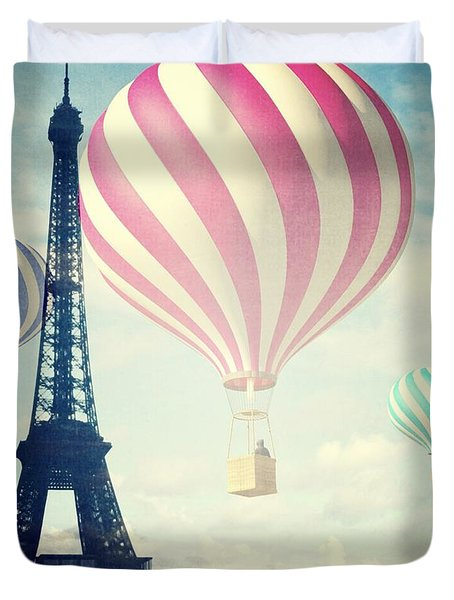 Hot Air Balloons In Paris Duvet Cover