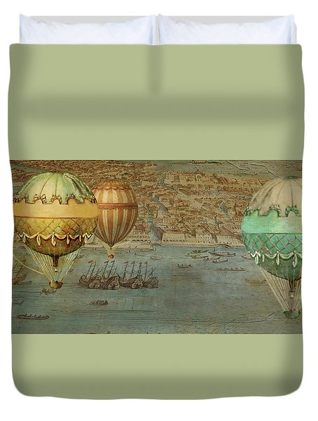 Duvet Cover featuring the digital art Hot Air Baloons Over Venus by Jeff Burgess
