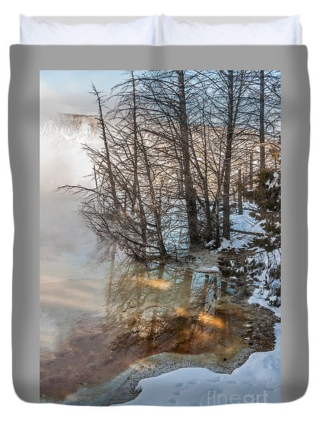 Hot And Cold In Yellowstone Duvet Cover by Sue Smith