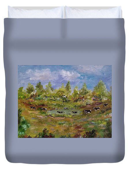 Duvet Cover featuring the painting Hot August Afternoon by Judith Rhue