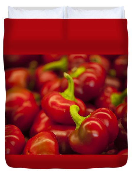 Hot Cherry Peppers Duvet Cover