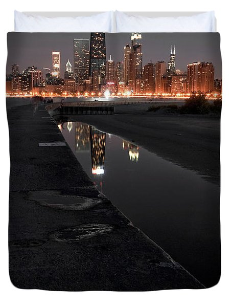 Chicago Hot City At Night Duvet Cover